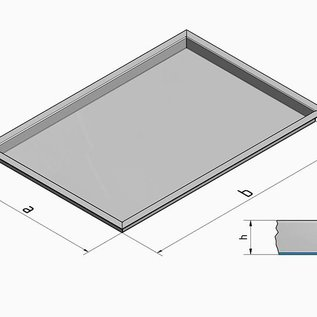Versandmetall Baignoire en acier inoxydable R3 soudée Epaisseur du matériau 1.5mm longueur / profondeur (a) 200mm à l'extérieur du sol K320