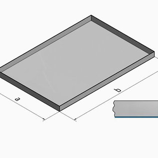 Versandmetall V4A 316L Kuip RVS Bak Spoelbak dikte 1,5mm  Breedte 500 mm oppervlakke BUITENZIJDE geschuurd grid(320) gelast en gebeitst