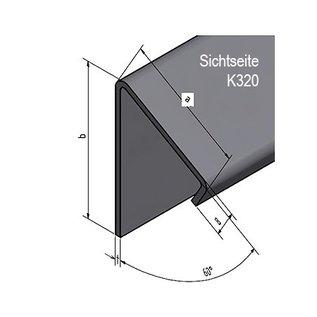 Versandmetall Aluminium hoek 60 ° met druiprand binnen 1,5 mm axb 30x40 mm lengte 2500 mm, één beschermfilm