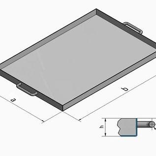 Versandmetall Kuip RVS Bak Spoelbak R1 dikte 1,5mm  Breedte 500 mm oppervlakke BUITENZIJDE geschuurd grid(320) gelast en gebeitst