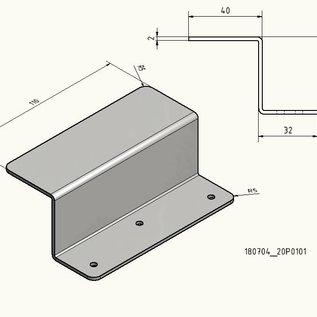 Versandmetall 1 Sonder-Z-Profil  180704_20P0101  aus 2,0mm Edelstahl einseitig Schliff K320 Höhe 42mm a 40mm b 32mm