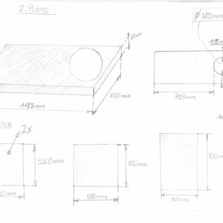 """Set [ 5 teiig ]  Edelstahlblech ( 1.4301) 1,5mm einseitig K320 nach Skizze """" inox 3 """" angefetigt"""