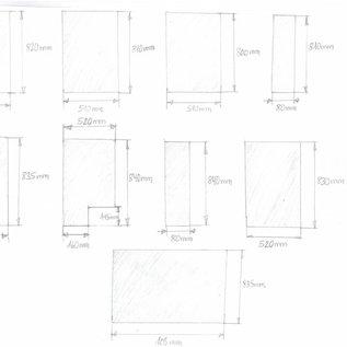 """Set [ 9 teiig ]  Edelstahlblech Teile  ( 1.4301) 1,5mm einseitig K320 nach Skizze """" inox 5 """" angefetigt"""