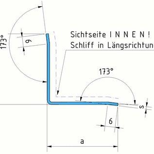 Versandmetall Arêt angle intérieur, profil de finition, longueur 1250mm , surafce 1.4301 IIID brillant