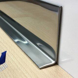 Versandmetall RVS 304 Hoekprofiel Hoekbeschermer binnenhoek Lengte 1250mm binnenzijde gepolijs