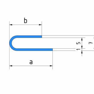 Versandmetall Profil de serrage écart 5mm acier inoxydable a / b 15 / 20mm t = 1.0mm longueur 2500mm,  surface brossé en grain 320