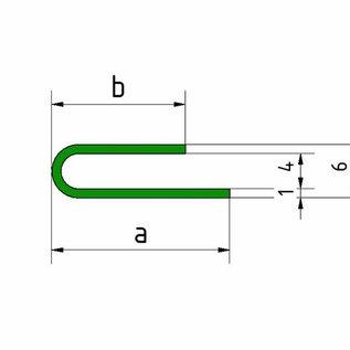 Versandmetall Profil de serrage écart 4mm acier inoxydable a / b 15 / 20mm t = 1.0mm longueur 1500mm, surface brossé en grain 320