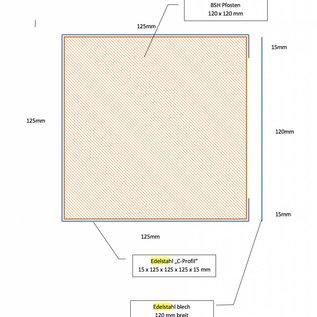 Versandmetall [1 St] RVS hoek Dikte 1,0 mm Buiten slijpen in de lengte K320 - axb 30x35mm 90 ° gevouwen lengte 902mm - Copy