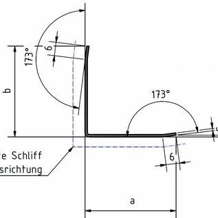 Versandmetall Corniere de protection moderne, pliée trois fois, pour murs, coins et arêtes, 50x50x1mm longueur 1250 mm surface brossé en grain320