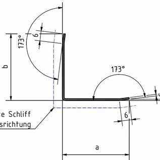 Versandmetall RVS 304 Hoekbeschermer Modern 3x gezet voor bescherming van Muren hoeken en Randen Reparatieprofiel dikte 1,0mm 50x50mm lengte 1250mm eenzijds geschuurd(grid320)