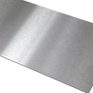Set [3 stks] Borde roestvrij stalen platen 1,0 mm roestvrij staal, geborsteld graan geribbeld en met sponning 10 mm axb 15x30 / 10 1xL = 1500 mm 1xL = 1190 mm1 x L = 900 mm