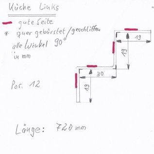 Set [2 pièces] Profilé en W pour dessiner des feuilles en acier inoxydable de 1,0 mm en acier inoxydable, à bords brossés 1x19x23x34x60 L = 720mm 1x19x30x19x19 L = 720mm