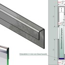 Versandmetall Systéme supports de verre 1mm,  Ensemble d'assemblage a 2 pieces c=14,5mm, pour verres de 10 jusqu'à 10,76mm
