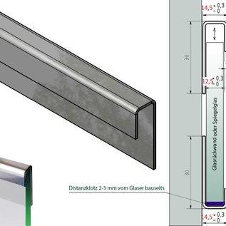 Versandmetall Glasrandprofiel system Glas 1,0mm Kombiset met 2 onderdeelen c = 14,5 mm voor 10 tot 10,76mm dickte van Glas