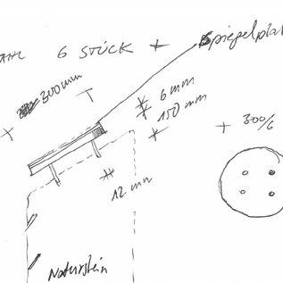 Versandmetall  [ Set ]  Spiegelplatte  aus 2,0mm glänzendem Edelstahl (V2A 1.4301 - 2R (III-D) - )  Durch messer 300mm aufgeklebt auf 4mm Trägerplatte auch 300mm mit 4 Stehbolzen d12x150mm nach Skizze angefertgt