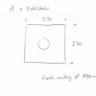 Stel [2 St] gesneden roestvrij staal, geborsteld graan 320, dikte 1,5 mm. 1x 600x1785mm 2 gaten, 1x 570x570mm 1 gat