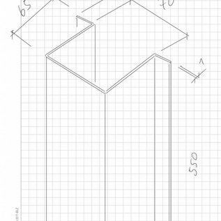 Hoedprofiel gemaakt van 1 mm roestvrij staal, geborsteld graan 320, a en b 65 mm c700 mm L = 550 mm