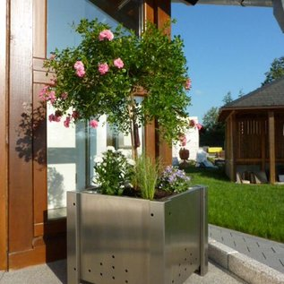 Versandmetall Set (2 stuks) speciale roestvrijstalen planter plantenbak planter eenzijdig met fijn gesneden (korrel 320) afmetingen: PK 20-80 buiten A: 28cm, B: 92cm, H: ~ 43cm = binnenzijde axbxh 20cm x 84cm x ~ 36cm