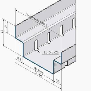 Versandmetall -70 mtr (35 x 2m) afvoerkanalen vorm A van aluminium inlaat 100mm