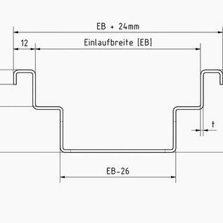 Versandmetall Drainagerinne Form B aus Aluminium Einlaufbreite 120mm Bestellmengen 10m, 20m, 30m, 40m, 50m