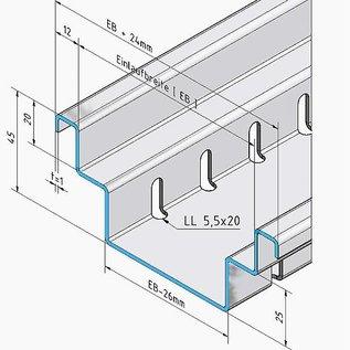 Versandmetall Drainagerinne Form B aus Aluminium Einlaufbreite 190mm Bestellmengen 10m, 20m, 30m, 40m, 50m