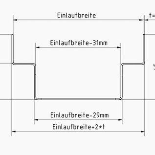 Versandmetall Drainagerinnen Form A Alu/Edelstahl inkl. Rost Einlaufbreite 90 bis 190mm