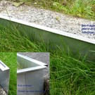 Versandmetall Stabiele gazonranden instellen Grindafwerking van 1,0 mm dik roestvrij staal (1.4301). Hoogte 200 mm 5 x L = 2500 mm 8 x L = 2000 mm 8 connectoren 5 hoekconnectoren (variabel buigbaar)