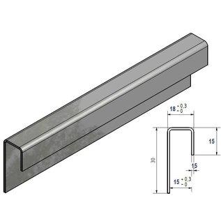 Versandmetall Glasrandprofiel geschuurd grid320 1,5  mm vor 15mm Glas ongelijk gezet