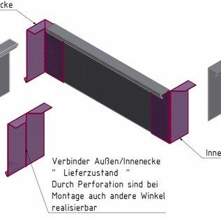 Versandmetall -Set  [ 28,5m ]  Stabile Rasenkanten Kiesleiste aus 1,0 mm starkem Edelstahl (1.4301) hergestellt. Höhe 200mm 5x L= 2500mm 8x L=2000mm 8 Verbinder 5 Winkelverbinder ( variabel biegbar)