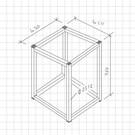 Versandmetall Tafelonderstel -1 stuk 450x450x760mm van roestvrij staal (1.4301 X5CrNi 18-10) lasnaden en gebeitste buis 25 / 25x2mm uiteinden met lamellenstop (ongeveer 3 m uitpuilend) gesloten oppervlak slijpen / geborsteld graan 240