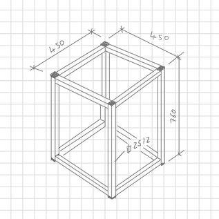 Versandmetall Cadre de table en 1 pièce 450x450x760mm en acier inoxydable (1.4301 X5CrNi 18-10), joints soudés et tubes décapés, extrémités de 25 / 25x2mm avec bouchon à lamelles (environ 3 m faisant saillie) meulage en surface fermée / grain brossé 240