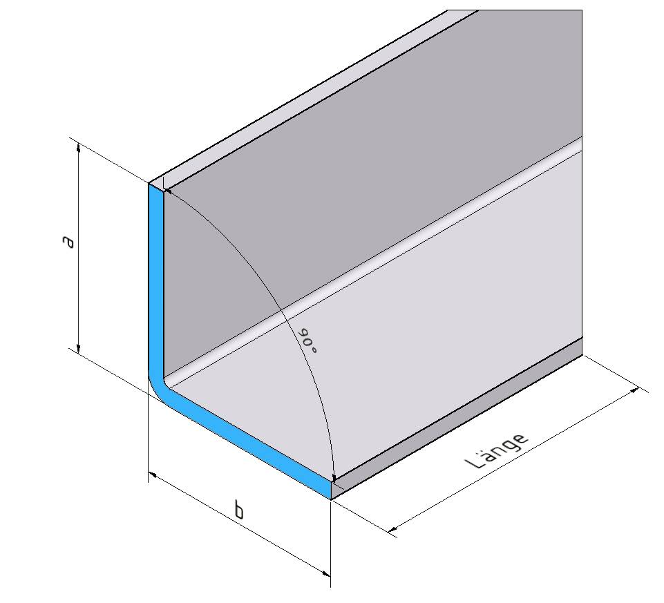 2,0m Edelstahlwinkel 90° mit Tropfkante L 2000mm 1.4301 AUSSEN Schliff K320