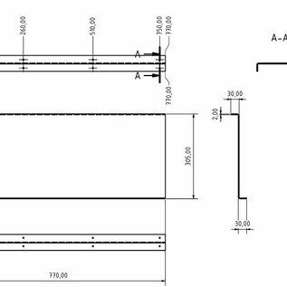 Versandmetall Set [4-delig] Aluminium scheidingswand Materiaal Alu Al99,5 blank, afmetingen vlgs. Schetsen t = 2,0 mm 30x305x30 mm L = 770 mm