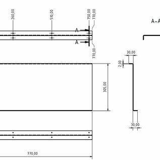 Versandmetall Set [4 pcs] Séparateur en aluminium Matériau Alu Al99,5 lisse, dimensions selon. Esquisses t = 2.0mm 30x305x30mm L = 770mm