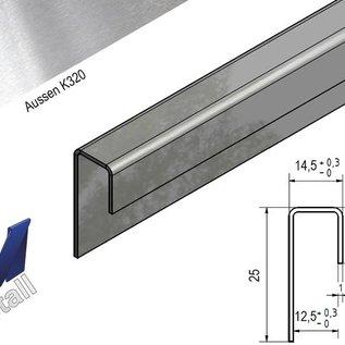 Versandmetall Einfassprofil K320 1,0mm Edelstahl für 12,5mm Glas oder Gipskarton ungleichschenkelig
