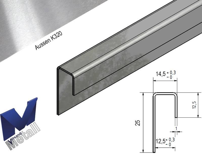 Glasprofiel Eindprofiel U Profiel Roestvrij Staal Tot Lengte 2500 Mm Voor Glas Dickte Van 8mm Tot 10 Mm Kopen Van Versandmetall Versandmetall