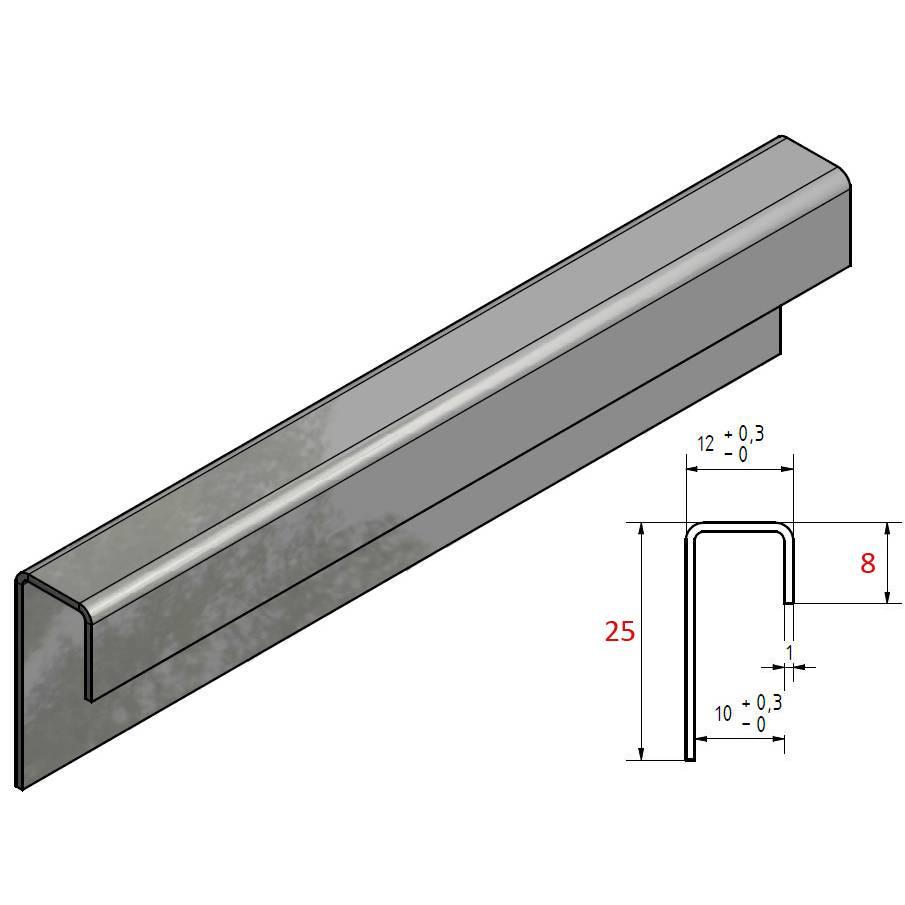 Feuille D Inox À Coller profilé de encadrement inox profil en u acier inoxydable jusqu'à l = 2500mm  de verre de 8mm à 10mm acheter a versandmetall
