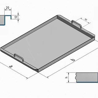 Versandmetall Speciale roestvrijstalen kuip R2 gelast Materiaaldikte 1,5 mm lengte / diepte (a) 500 mm breedte 1300 mm, hoogte 60 mm, binnenkant slijpen K320