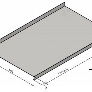 Versandmetall Roestvrijstalen werkblad 1,5 mm 600 mm diepte, verschillende breedtes, 2 materiaaldikten, zichtbare zijgraan 320, wordt geleverd met beschermfolie