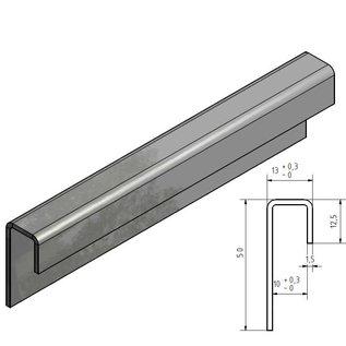Versandmetall Glasrandprofiel 50/12 / 12.5 van 1,5 mm roestvrij staal voor 10 mm glas ongelijk gevouwen