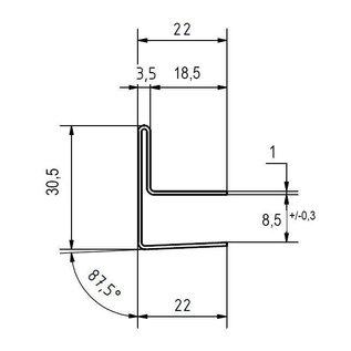 Versandmetall Edelstahl Glasdach-Regenrinne 8 mm für ESG-Glas 8mm oder VSG Glas 8,76mm, 1.4301 aussen Schliff K320