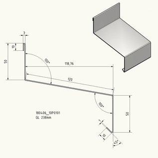 Versandmetall Traufblech Edelstahl 1.4301 Aussen K320 50/120/50, 1,0mm , Längen 1000, 1250, 1500, 2000, 2500 mm