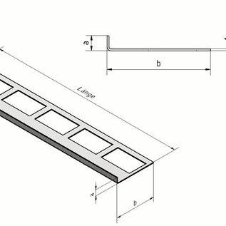 Versandmetall Tegelstrip 1 Tegelrand Tegelprofiel roestvrij staal 1,0 mm, gemalen korrel 320