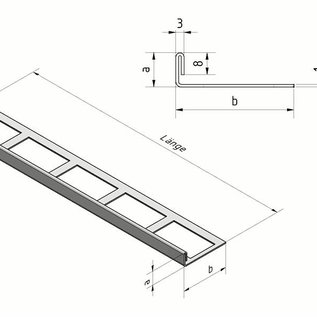 Versandmetall Profilé de carrelage en acier inoxydable 1,0 mm, grain rectifié 320