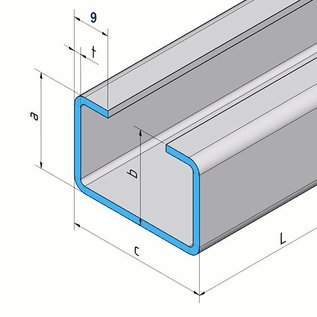 Versandmetall C-Profiel gemaakt van roestvrij Staal Oppervlakke geschuurd hoogte 30 mm Breedte 40 mm- tot 80 mm Lengte 2500 mm