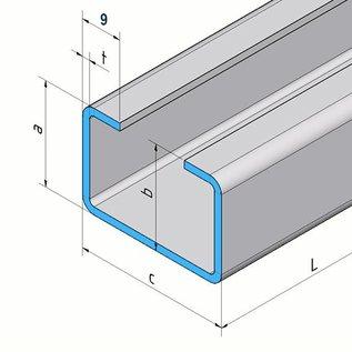 Versandmetall C-Profil aus Edelstahl gebürstet, Höhe 20mm Breite c= 30 bis 80mm Länge 1500 mm