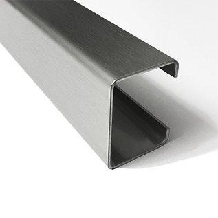 Versandmetall C-Profil aus Edelstahl gebürstet, Höhe 20mm Breite c= 30 bis 80mm Länge 1000 mm