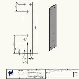 """Versandmetall Set [30 St] 190106_10P0101 plaque de montage en aluminium 3.0mm axb 50x270mm Al99.5 nu, revêtement en poudre """"noir, satiné mat"""""""