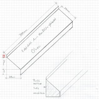 Versandmetall 1  Sonder Abschlussprofil nach Skizze  4-fach gekantet aussen K320,  Länge 700mm  7/37/11mm Material 1,0mm Edelstahl, Stirnseiten geschweißt und gebeizt