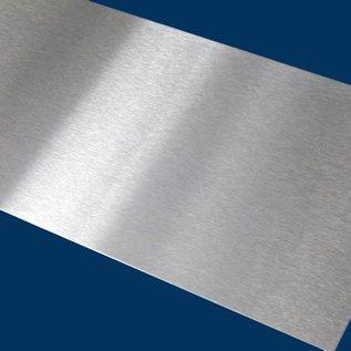Stel [100 St] blank roestvrij staal, geborsteld graan 320, dikte 1,0 mm in. Snij en ontbraam tot 50x100mm